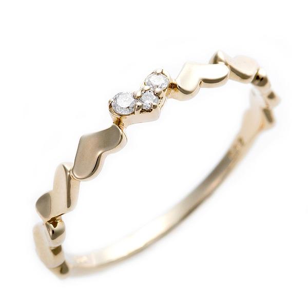 K10イエローゴールド 天然ダイヤリング 指輪 ピンキーリング ダイヤモンドリング 0.03ct 4号 アンティーク調 プリンセス ハートモチーフf00