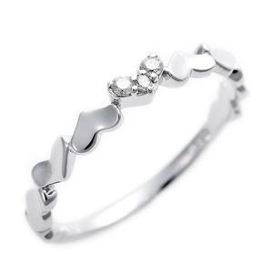 K10ホワイトゴールド 天然ダイヤリング 指輪 ピンキーリング 0.03ct アンティーク調 プリンセス ハートモチーフ