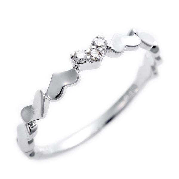 K10ホワイトゴールド 天然ダイヤリング 指輪 ピンキーリング ダイヤモンドリング 0.03ct 4号 アンティーク調 プリンセス ハートモチーフf00