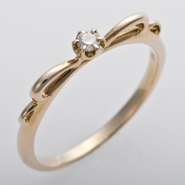 K10イエローゴールド 天然ダイヤリング 指輪 ピンキーリング ダイヤモンドリング 0.03ct 1号 アンティーク調 プリンセス リボンモチーフf00