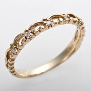 K10イエローゴールド 天然ダイヤリング 指輪 ピンキーリング 0.03ct アンティーク調 プリンセス ティアラモチーフ