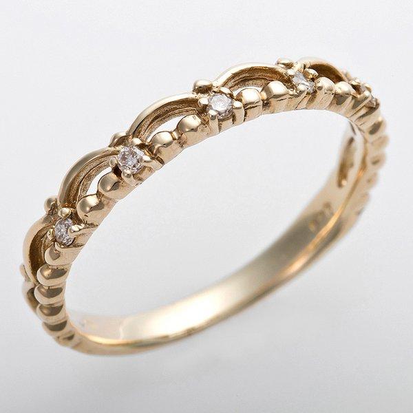 K10イエローゴールド 天然ダイヤリング 指輪 ピンキーリング ダイヤモンドリング 0.03ct 3号 アンティーク調 プリンセス ティアラモチーフf00