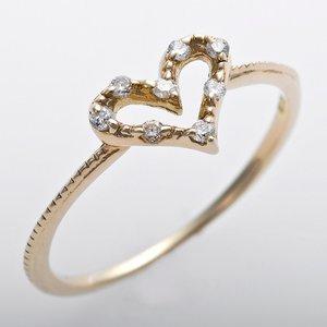 K10イエローゴールド 天然ダイヤリング 指輪 ピンキーリング 0.03ct アンティーク調 プリンセス ハートモチーフ