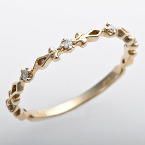 K10イエローゴールド 天然ダイヤリング 指輪 ピンキーリング 0.03ct アンティーク調 プリンセス
