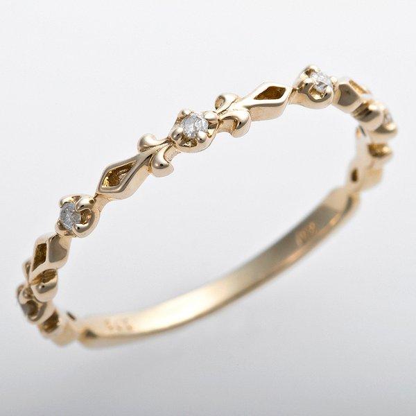 K10イエローゴールド 天然ダイヤリング 指輪 ピンキーリング ダイヤモンドリング 0.03ct 3号 アンティーク調 プリンセスf00