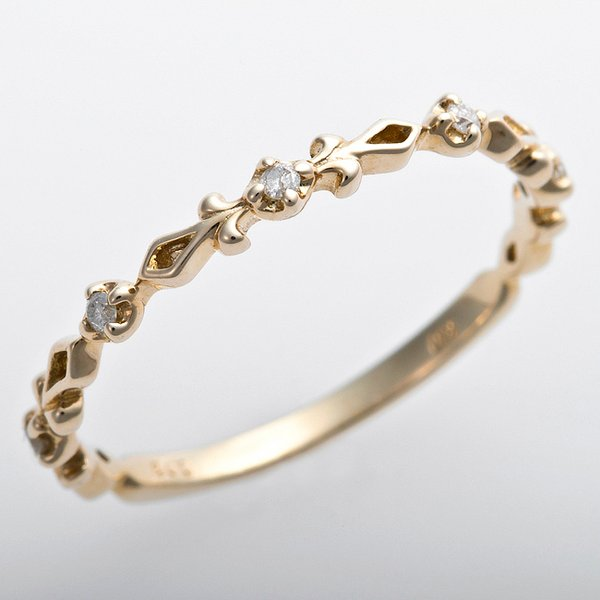 K10イエローゴールド 天然ダイヤリング 指輪 ピンキーリング ダイヤモンドリング 0.03ct 3.5号 アンティーク調 プリンセスf00