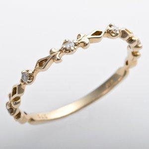 K10イエローゴールド 天然ダイヤリング 指輪 ピンキーリング ダイヤモンドリング 0.03ct 5号 アンティーク調 プリンセス