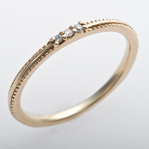 K10イエローゴールド 天然ダイヤリング 指輪 ピンキーリング 0.02ct アンティーク調 プリンセス