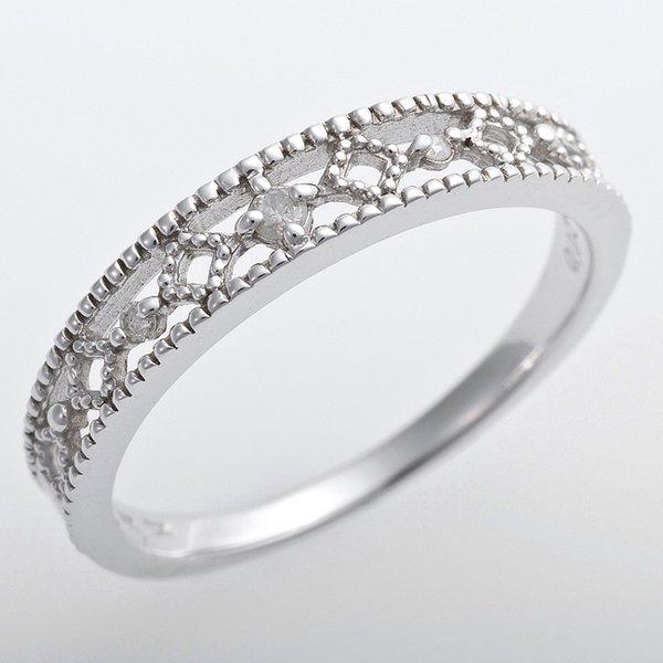 K10ホワイトゴールド 天然ダイヤリング 指輪 ピンキーリング ダイヤモンドリング 0.02ct 3.5号 アンティーク調 プリンセスf00