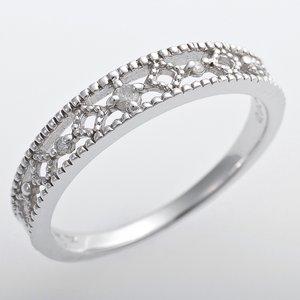K10ホワイトゴールド 天然ダイヤリング 指輪 ピンキーリング ダイヤモンドリング 0.02ct 4.5号 アンティーク調 プリンセス - 拡大画像