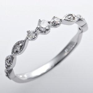 ダイヤモンド ピンキーリング K10ホワイトゴールド ダイヤ0.09ct アンティーク調 プリンセス
