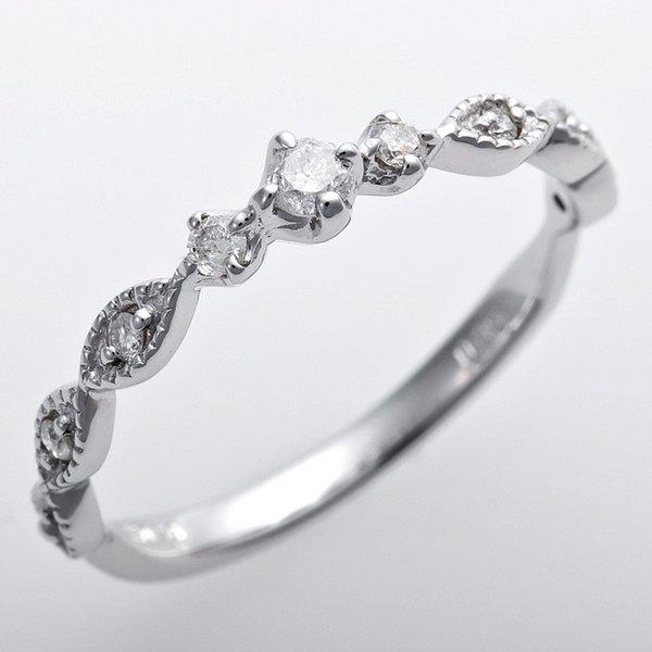ダイヤモンド ピンキーリング K10ホワイトゴールド 1.5号 ダイヤ0.09ct アンティーク調 プリンセスf00