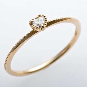 K10イエローゴールド 天然ダイヤリング 指輪 ダイヤ0.05ct アンティーク調 プリンセス ハートモチーフ