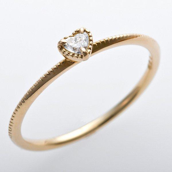 K10イエローゴールド 天然ダイヤリング 指輪 ダイヤ0.05ct 8号 アンティーク調 プリンセス ハートモチーフf00