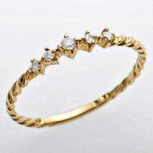 K10イエローゴールド 天然ダイヤリング 指輪 ダイヤ0.06ct アンティーク調 プリンセス