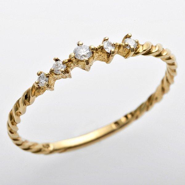 K10イエローゴールド 天然ダイヤリング 指輪 ダイヤ0.06ct 12.5号 アンティーク調 プリンセスf00