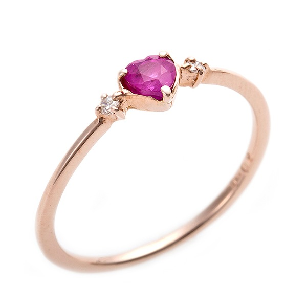 K10ピンクゴールド ルビー 天然ダイヤリング  ピンキーリング ダイヤリング 指輪 0.02ct 2.5号 ハートモチーフf00