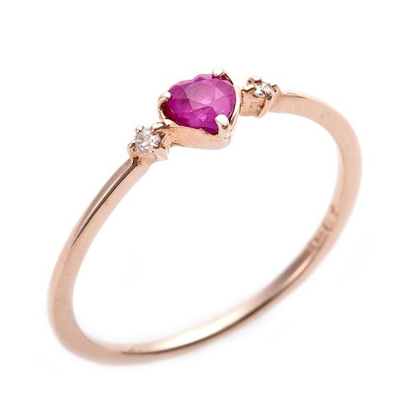 K10ピンクゴールド ルビー 天然ダイヤリング ピンキーリング ダイヤリング 指輪 0.02ct 5号 ハートモチーフf00