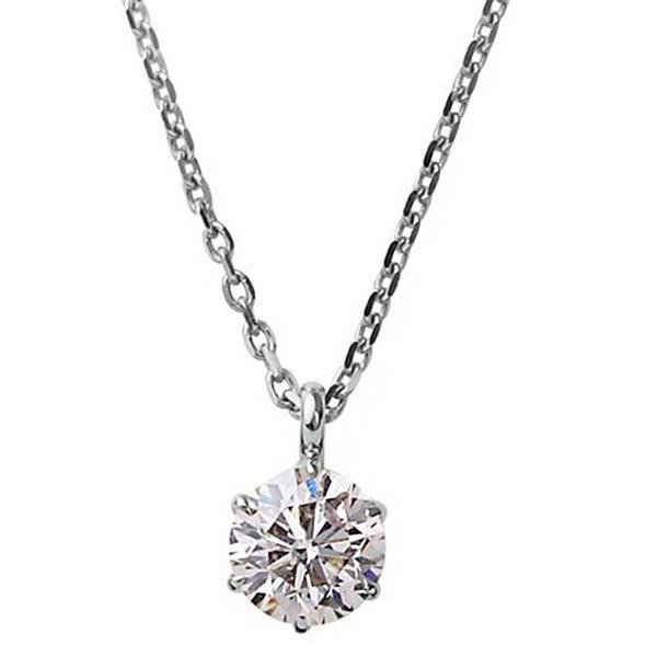 ダイヤモンドペンダント/ネックレス 一粒 K18 ホワイトゴールド  0.1ct ダイヤネックレス 6本爪 Kカラー I1クラス Poor 中央宝石研究所ソーティング済みf00