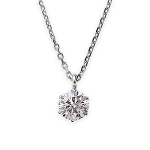 【鑑定書付】ダイヤモンドペンダント/ネックレス一粒K18ホワイトゴールド0.2ctダイヤネックレス6本爪HカラーI1クラスGood中央宝石研究所ソーティング済み