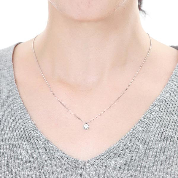 一粒ダイヤモンドペンダント/ネックレス Pt900 0.5ct Dカラー SI2 Excellent ハート&キューピット 鑑定書付きのポイント2