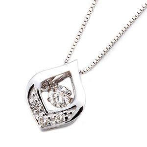 ダイヤモンドペンダント/ネックレス一粒K18ホワイトゴールド0.1ctダンシングストーンダイヤモンドスウィングネックレス揺れるダイヤが輝きを増す☆雫モチーフ揺れるダイヤ