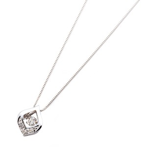 ダイヤモンドペンダント/ネックレス 一粒  K18 ホワイトゴールド 0.1ct ダンシングストーン ダイヤモンドスウィングネックレス 揺れるダイヤが輝きを増す☆ 雫モチーフ 揺れる ダイヤ h02