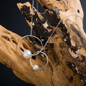 あこや真珠 ネックレス シンプル K10 ホワイトゴールド パール 本真珠 6mm珠 4mm珠 アシンメトリーデザイン 40cm 長さ調節付き