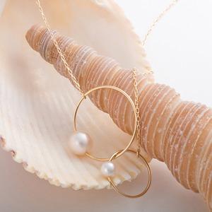 あこや真珠 ネックレス シンプル K10 イエローゴールド パール 本真珠 6mm珠 4mm珠 アシンメトリーデザイン 40cm 長さ調節付き
