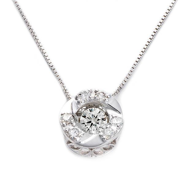 ダイヤモンドペンダント/ネックレス 一粒  K18 ホワイトゴールド 0.2ct ダンシングストーン ダイヤモンドスウィングネックレス 揺れるダイヤが輝きを増す サークルモチーフ 揺れる ダイヤ 鑑別書付き