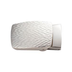 ベルトバックルゴザ目茣蓙目3cmベルト幅用銀製磨き仕上げ日本伝統工芸品ハンドメイドスターリングシルバー
