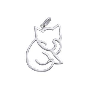 ペンダントトップ 切り抜き 猫A ねこ 銀製 磨き仕上げ 日本伝統工芸品 ハンドメイド スターリングシルバー - 拡大画像