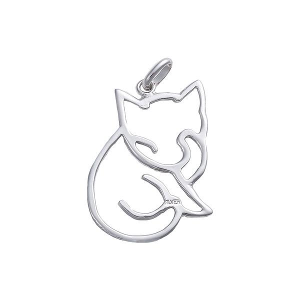 ペンダントトップ 切り抜き 猫A ねこ 銀製 磨き仕上げ 日本伝統工芸品 ハンドメイド スターリングシルバーf00