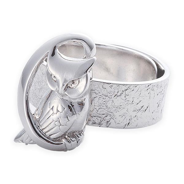 リング 月にふくろう 岩石 梟 指輪 銀製 磨き仕上げ 日本伝統工芸品 ハンドメイド スターリングシルバーf00
