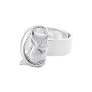 リング 月にふくろう 槌目 梟 指輪 銀製 磨き仕上げ 日本伝統工芸品 ハンドメイド スターリングシルバー