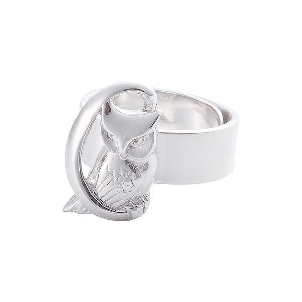 リング 月にふくろう 槌目 梟 指輪 銀製 磨き仕上げ 日本伝統工芸品 ハンドメイド スターリングシルバーf00