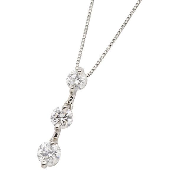 ダイヤモンドペンダント/ネックレス 3石 ダイヤ合計0.5カラット プラチナ Pt900 縦にセットされた人気のダイヤ3ストーン 鑑別書付きf00