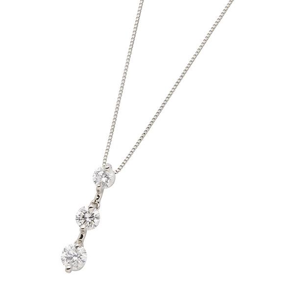 3ストーンダイヤモンドネックレス 合計0.5カラット Pt900【鑑別書付き】のポイント1