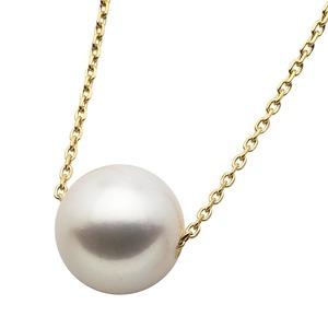 アコヤ真珠 ネックレス パールネックレス K18 イエローゴールド 花珠クラス 8mm 8ミリ珠 40cm 長さ調節可能(アジャスター付き) あこや真珠 ペンダント パール 本真珠 - 拡大画像
