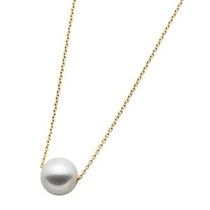 アコヤ真珠 ネックレス パールネックレス K18 イエローゴールド 花珠クラス 8mm 8ミリ珠 40cm 長さ調節可能(アジャスター付き) あこや真珠 ペンダント パール 本真珠