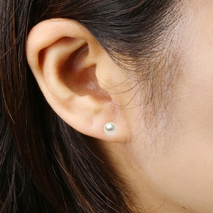 アコヤ真珠 ピアス パールピアス プラチナ Pt900 約6mm 約6ミリ珠 あこや真珠 本真珠 真珠 シリコン製ダブルロックキャッチ仕様