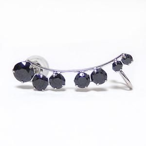 ピアス高品質ブラックキュービックジルコニアK10ホワイトゴールドイヤーカフ左耳用ラインピアスシリコン製ダブルロックキャッチ