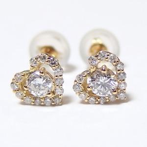 ダイヤモンド ピアス 0.3ct K18 イエローゴールド Hカラー SIクラス 0.3カラット ハート ピアス 限定1点限り  - 拡大画像