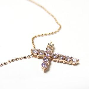 ダイヤモンド ネックレス 0.5ct K18 ピンクゴールド 十字架 クロス ペンダント 限定1点限り