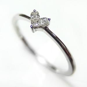 ダイヤモンド リング K10 ホワイトゴールド 0.1ct ハートモチーフ ミステリーセッティング 0.1カラット ハート ダイヤ 指輪 限定1点限り  #11 11号