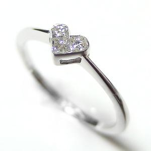 ダイヤモンド リング K10 ホワイトゴールド 0.15ct ハートモチーフ ミステリーセッティング 0.15カラット ハート ダイヤ 指輪 限定1点限り #12 12号 - 拡大画像