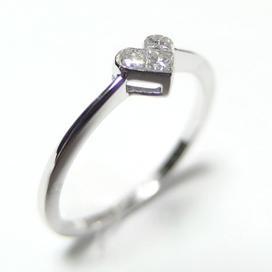 ダイヤモンド リング K10 ホワイトゴールド 0.15ct ハートモチーフ ミステリーセッティング 0.15カラット ハート ダイヤ 指輪 限定1点限り #12 12号