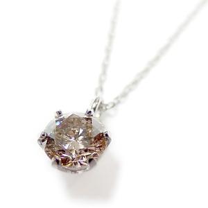 ダイヤモンド ネックレス 一粒 K18 ホワイトゴールド 0.3ct 6本爪 シャンパンゴールドダイヤ SIクラス Good ペンダント 鑑定書付き - 拡大画像