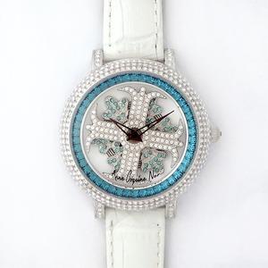 アンコキーヌ ネオ 40mm バイカラー ミニクロス シルバーベゼル インナーベゼルブルー ホワイトベルト アルバ 正規品(腕時計・グルグル時計) - 拡大画像