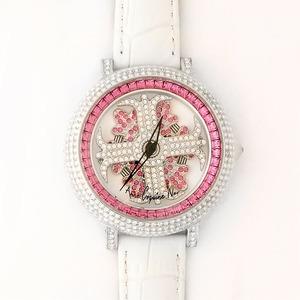 アンコキーヌ ネオ 40mm バイカラー ミニクロス シルバーベゼル インナーベゼルレッド ホワイトベルト アルバ 正規品(腕時計・グルグル時計) - 拡大画像